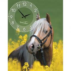 06-201 Часы настенные на холсте Лошади 30*50см