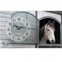 06-200 Wall Clock on canvas 50*30cm Horses