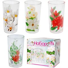 7210 Набор 6 стаканов на стойке <a href='http://snt.od.ua/ru/poisk.html?q=Цветы' />Цветы</a> 230мл