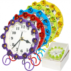 02-229  Table clock with metal stones 12x15cm