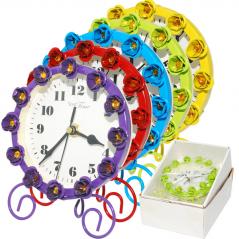 02-229 Часы настольные с камнями  металл 12х15см