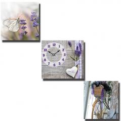 06-302 Часы настенные на холсте 3х секционные Летняя прогулка  (30*30см 1 секция)