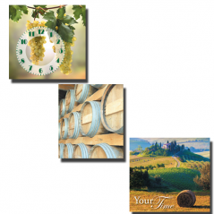 06-304 Wall Clock on canvas of three section Solar Tuscany (30 * 30cm 1 section)