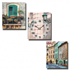 06-309 Wall Clock on canvas 3 Sectional Old Town (30 * 30cm 1 section)
