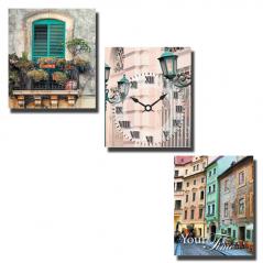06-309 Часы настенные на холсте 3х секционные Старый город (30*30см 1 секция)