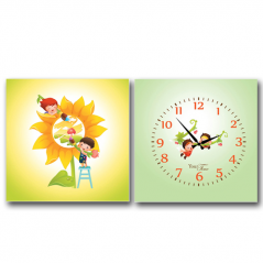 06-113 Wall Clock on canvas of 2 section Friends (28*28cm 1 section)