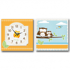 06-114 Wall Clock on canvas of 2 section Owls (28*28cm 1 section)