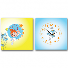 06-115 Wall Clock on canvas of 2 section Tennis player (28*28cm 1 section)