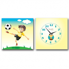 06-116 Wall Clock on canvas of 2 section Footballer  (28 * 28cm 1 section)