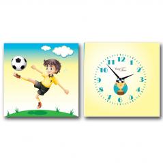 06-116 Часы настенные на холсте 2х секционные Футболист (28*28см 1 секция)