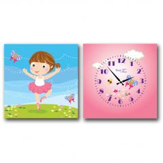 06-100 Часы настенные на холсте 2х секционные Балерина детские (28*28см 1 секция)