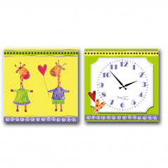 06-101 Wall Clock on canvas of 2 section Giraffes children (28*28cm 1 section)