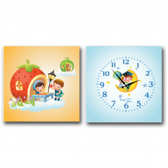 06-102 Wall Clock  on canvas of 2 section Astronaut children (28*28cm 1 section)