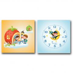 06-102 Часы настенные на холсте 2х секционные Астронавт детские (28*28см 1 секция)