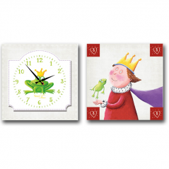 06-103 Wall Clock on canvas of 2 section Frog Princess children (28*28cm 1 section)