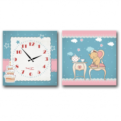 06-104 Wall Clock on canvas of 2 section at a party children (28*28cm 1 section)