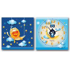 06-105 Wall Clock on canvas of 2 section Cat (28*28cm 1 section)