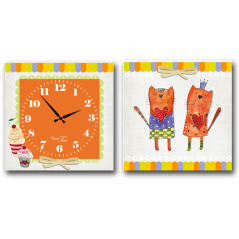 06-106 Wall Clock on canvas of 2 section Cats (28*28cm 1 section)