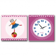 06-107 Wall Clock on canvas Ballet dancer (28*28cm 1 section)