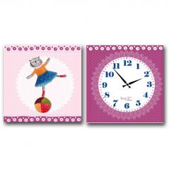 06-107 Часы настенные на холсте 2х секционные Балерина (28*28см 1 секция)