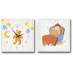 06-108 Wall Clock on canvas of 2 section Bear (28*28cm 1 section)