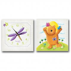 06-109 Wall Clock on canvas of 2 section Bear (28*28cm 1 section)