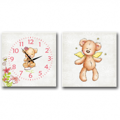 06-110 Wall Clock Bear on canvas of 2 section children (28*28cm 1 section)