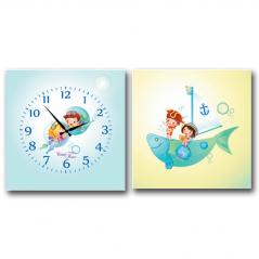 06-112 Часы настенные на холсте 2х секционные Моряки (28*28см 1 секция)