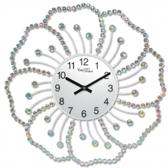 02-226 Wall Clock metal flower with stones 40x40 cm