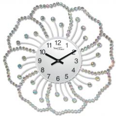 02-226 Часы настенные с камнями Цветок металл 40х40 см