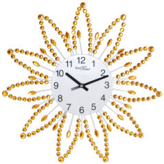 02-225 Wall Clock with stones yellow metal 40x40 cm