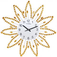 02-225 Часы настенные с камнями жёлтый метал 40х40 см