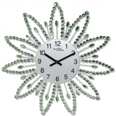 02-225 Wall Clock with stones green metal 40x40 cm