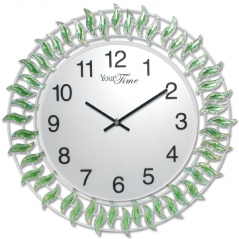 02-224 Wall Clock with stones green metal 40x40 cm