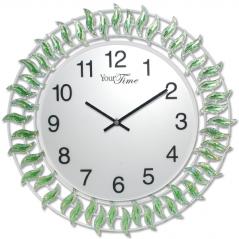 02-224 Часы настенные с камнями зелёный металл 40х40 см