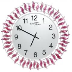 02-224 Wall clock with purple stones metal 40x40 cm
