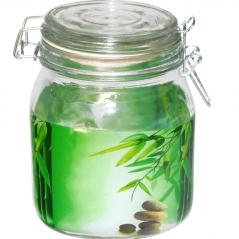 6141 Емкость для сыпучих продуктов на зажиме (Зеленый бамбук) 1,1л