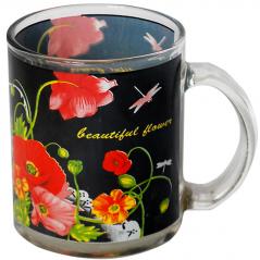 930 Чашка стеклянная 325 мл с рисунком. <a href='http://snt.od.ua/ru/poisk.html?q=Мак' />Мак</a>