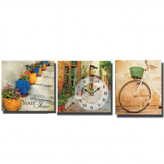 06-301 Wall Clock on canvas of three section Streets of Italy (30 * 30cm 1 section)