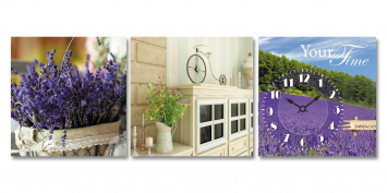 06-310 Wall Clock on canvas fields of Provence 30 * 30cm