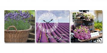 06-312 Wall Clock on canvas lavender fields 30 * 30cm