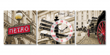 06-313 Wall Clock on canvas Old London 30 * 30cm