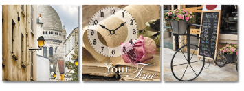 06-318 Wall Clock on canvas Cozy streets 30 * 30cm