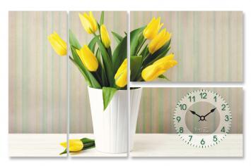 06-400 Wall Clock on canvas 78 * 50cm Tulips