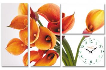 06-401 Часы настенные на холсте Цветок Калла 75*48см