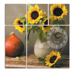06-402 Wall Clock on canvas 60 * 60cm Sunflower