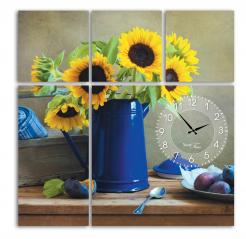 06-403 Wall Clock on canvas 60 * 60cm Sunflower