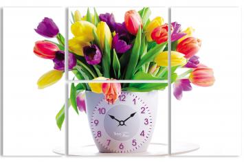06-404 Часы настенные на холсте Тюльпаны 48*76см