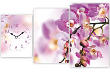 06-408 Часы настенные на холсте Орхидея 72*44см