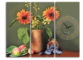 06-409 Wall Clock on canvas 60 * 45cm Sunflower